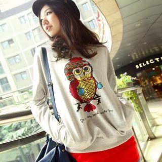 Owl-Print Pullover