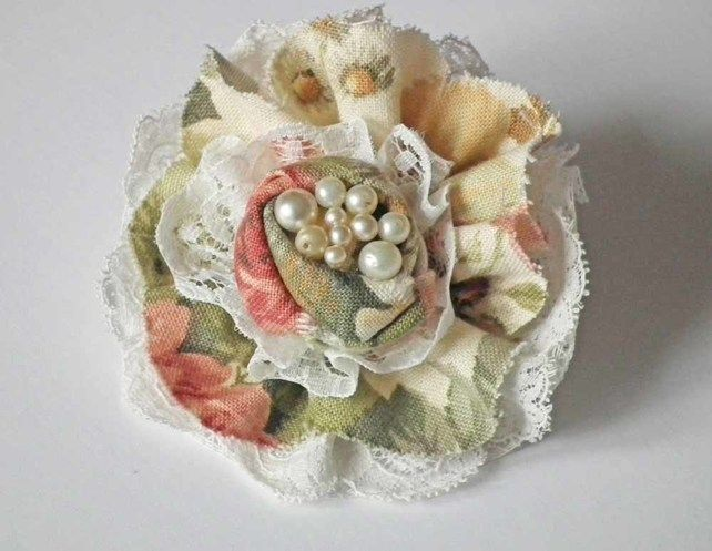 Flower Corsage Brooch, Vintage Lace and Linen