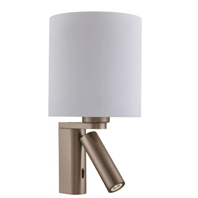 0991AB WALL - nástenná lampa - staromosadz+biele sklo LED