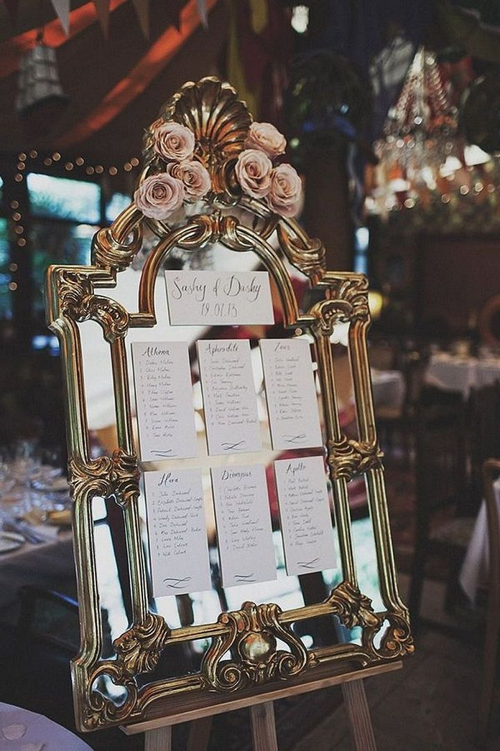 Vintage mirror wedding seating plan #weddingseatingchart #vintagewedding #gatsbywedding