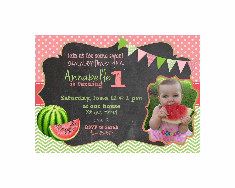 Watermelon Birthday Invitation Printable - JPEG file - Summer ...