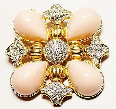 Vintage-gold-tone-metal-brooch-pin-w-rhinestones-signed-KJL-Kenneth-Jay-Lane