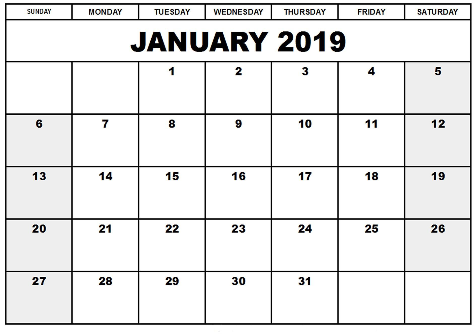 2019 January Calendar Uk Monthly Calendar Printable Editable