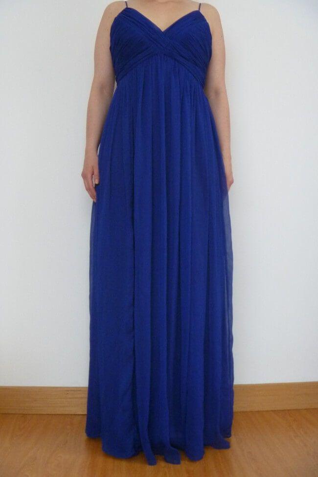 Vestido azul rey largo para boda