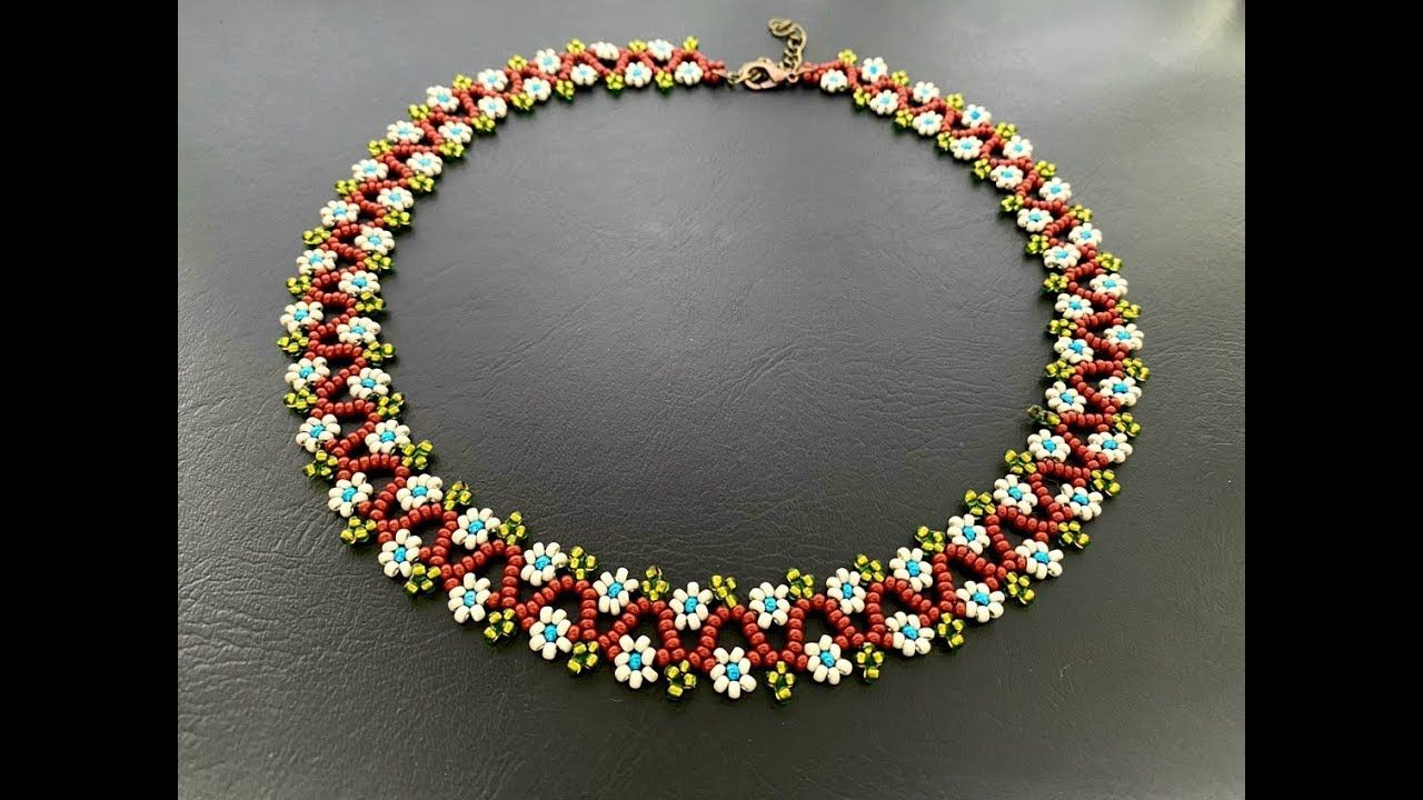Daisy chain necklace easy tutorial diy seed beads