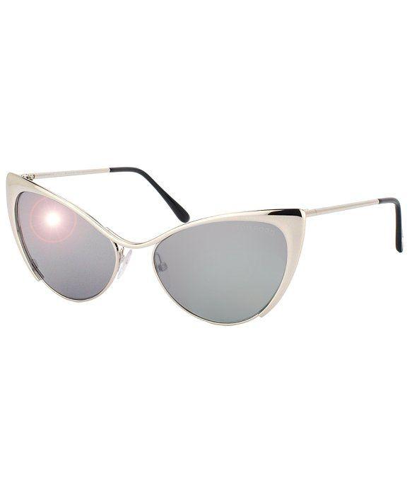 Tom Ford TF304 Nastasya 16C Silver Metal Cat Eye Sunglasses Silver Mirror Lens