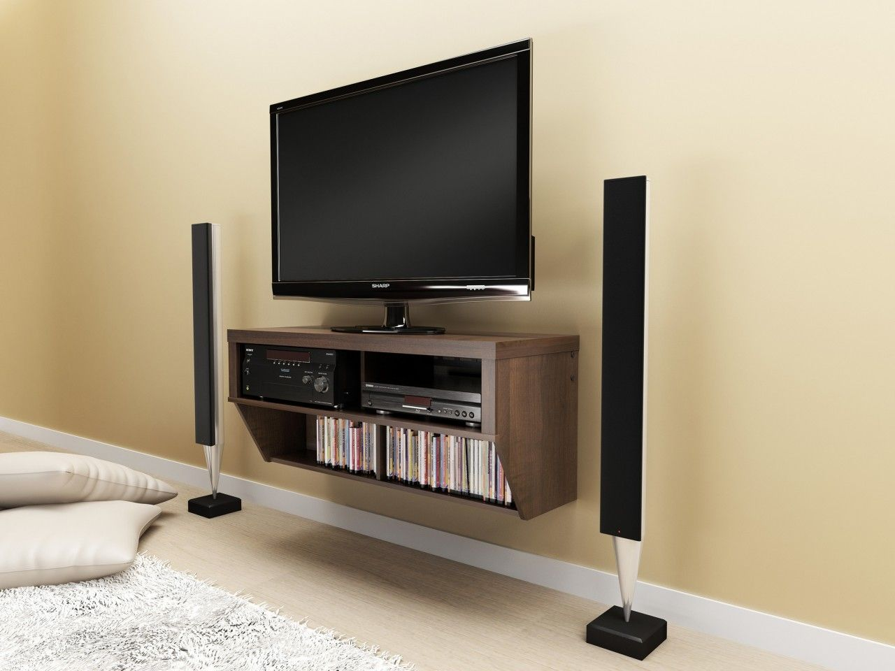 Creative Tv Wall Mounting Ideas Wall Mounted Media Console Wall