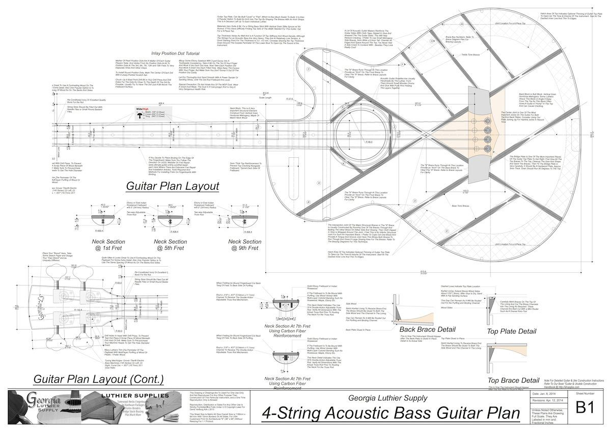 4 String Acoustic Bass Guitar Plans Electronic Version Diagram