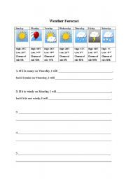 english worksheet weather forecast with first conditionals classroom ideas vocabulary. Black Bedroom Furniture Sets. Home Design Ideas