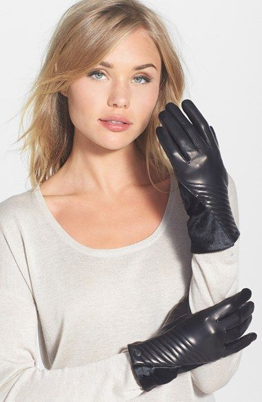 Vince Camuto Leather & Calf Gloves