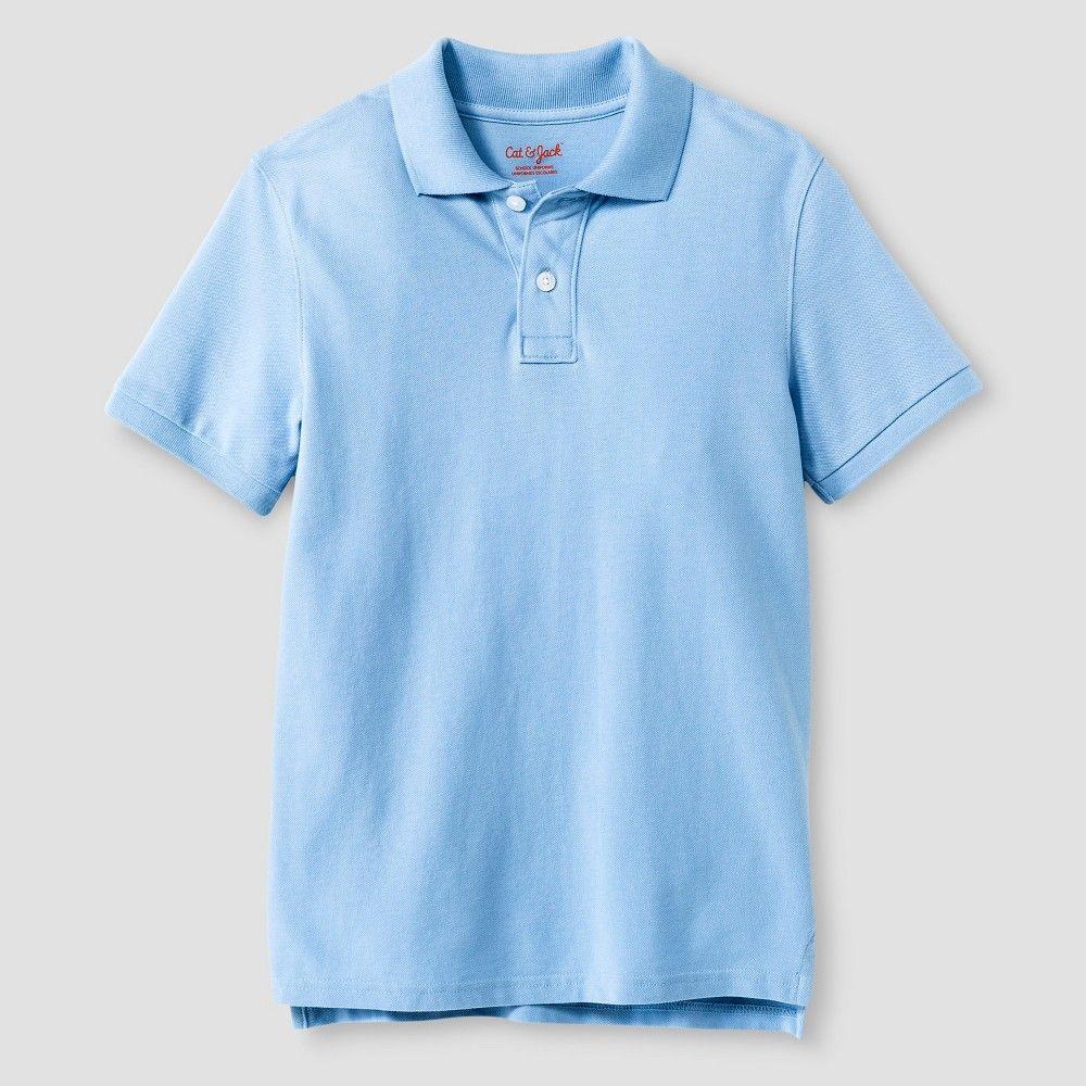 21602c300 Boys' Pique Polo T-Shirt Cat & Jack - Light Blue Xxl, Boy's ...