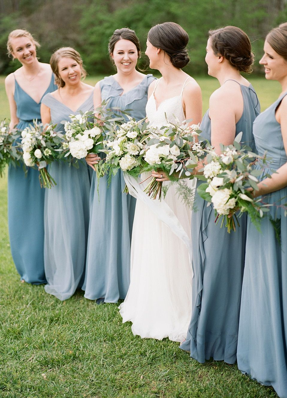 Mix And Match Dusty Blue Bridesmaid Dresses From Tulle Chantilly Collection Photo Bridesmaid Mismatched Bridesmaid Dresses Blue Blue Bridesmaid Dresses Short