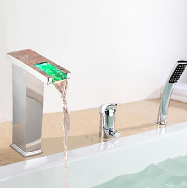 Photo of Best LED Faucet Sale | FontanaShowers. Shop Contemp LED Chrome Waterfall Bathtub Faucet With Handheld Shower at FontanaShowers.com