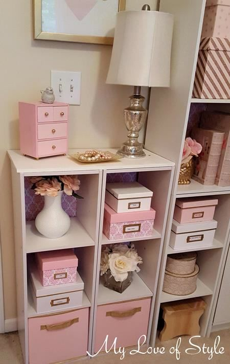 Lovely Pink And White Damask Craft Room Storage Boxes