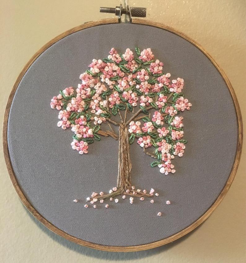 Embroidery hoop nursery decor kids decor cherry blossoms | Etsy