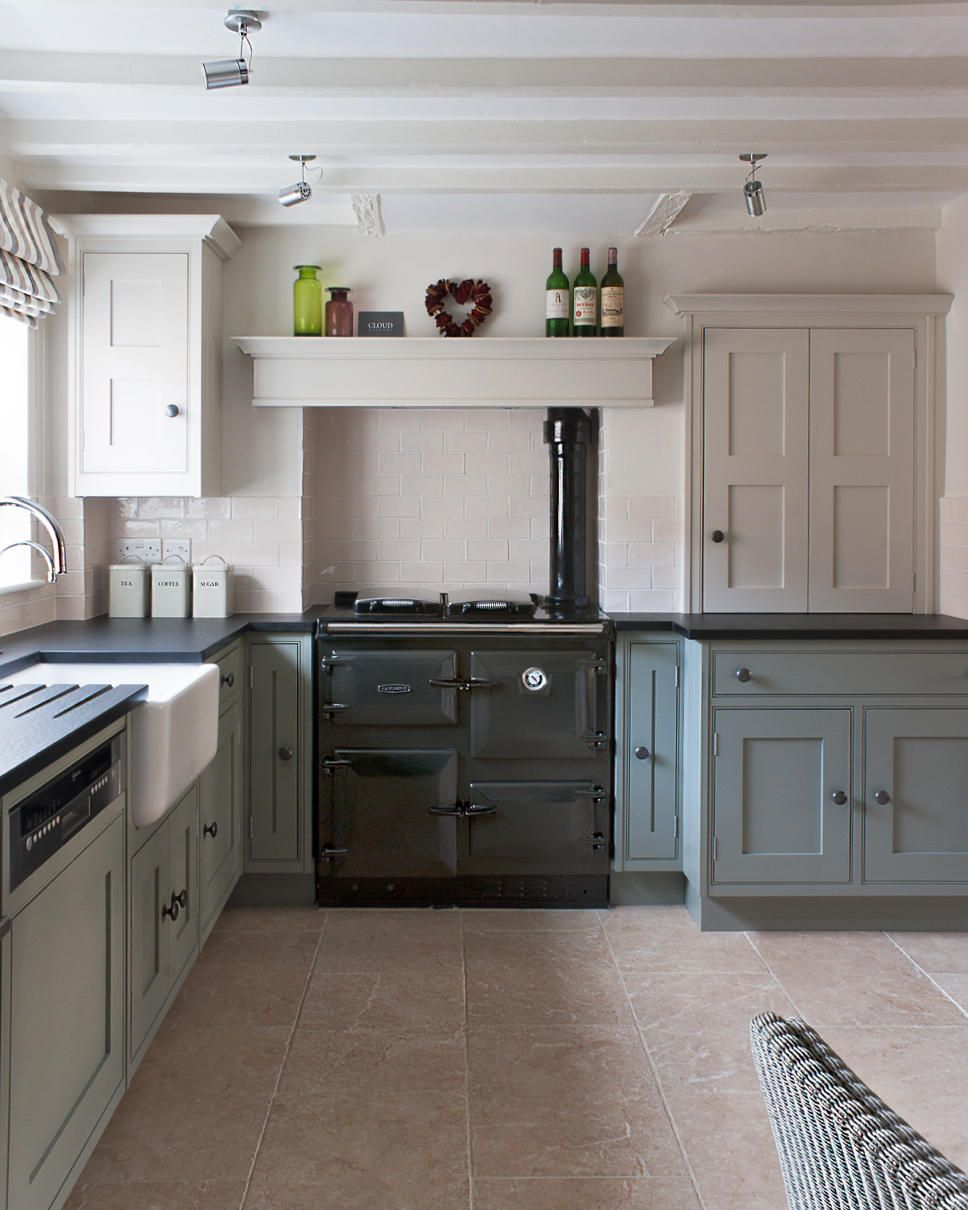 A Rayburn Cooker In Pewter Sits At The Heart Of This Hand Painted Kitchen Original Painted
