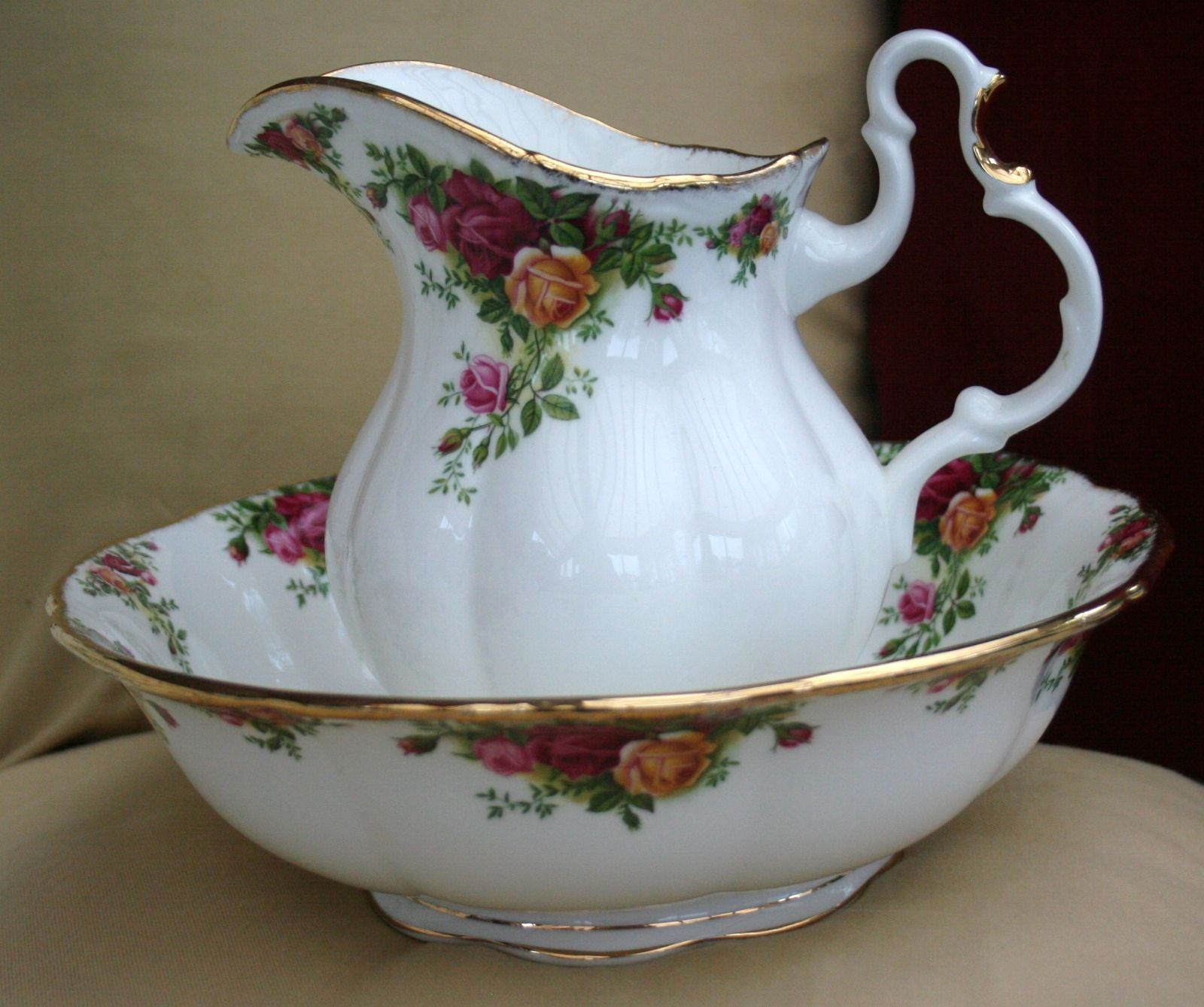royal albert old country roses wash bowl and pitcher