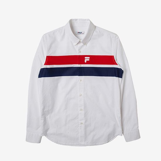 Originale  두줄 옥스포드 셔츠 [오리지날레]두줄 옥스포드 셔츠 (X2SHY301M_WT)