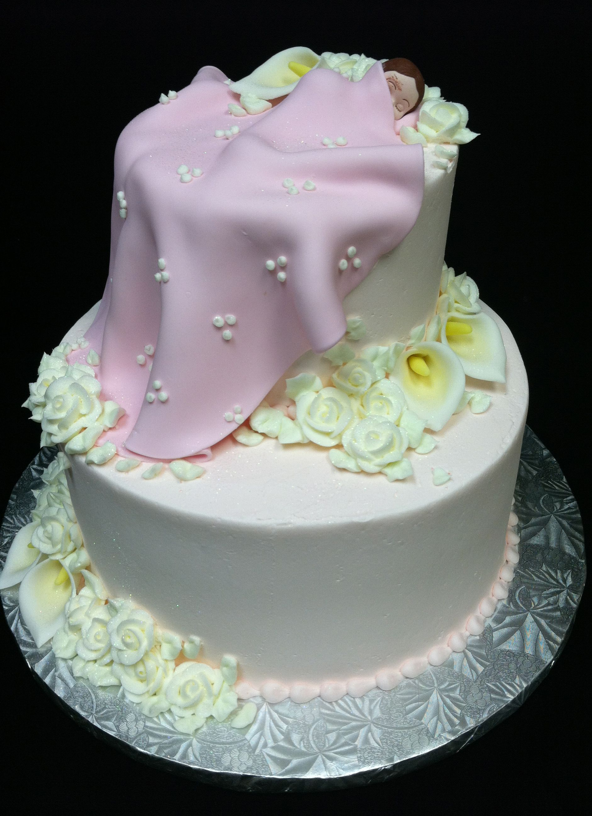 How precious, tucked in for a little nap! Adorable baby shower cake from www.puffymuffin.com