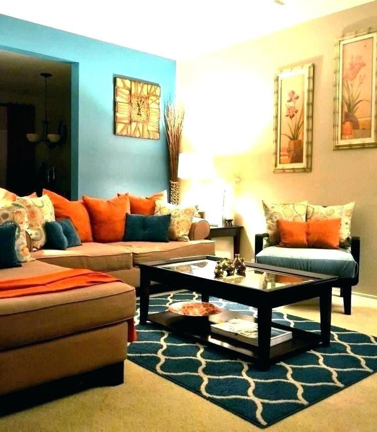 Living Room Decor In Brown And Blue Blue And Orange Living