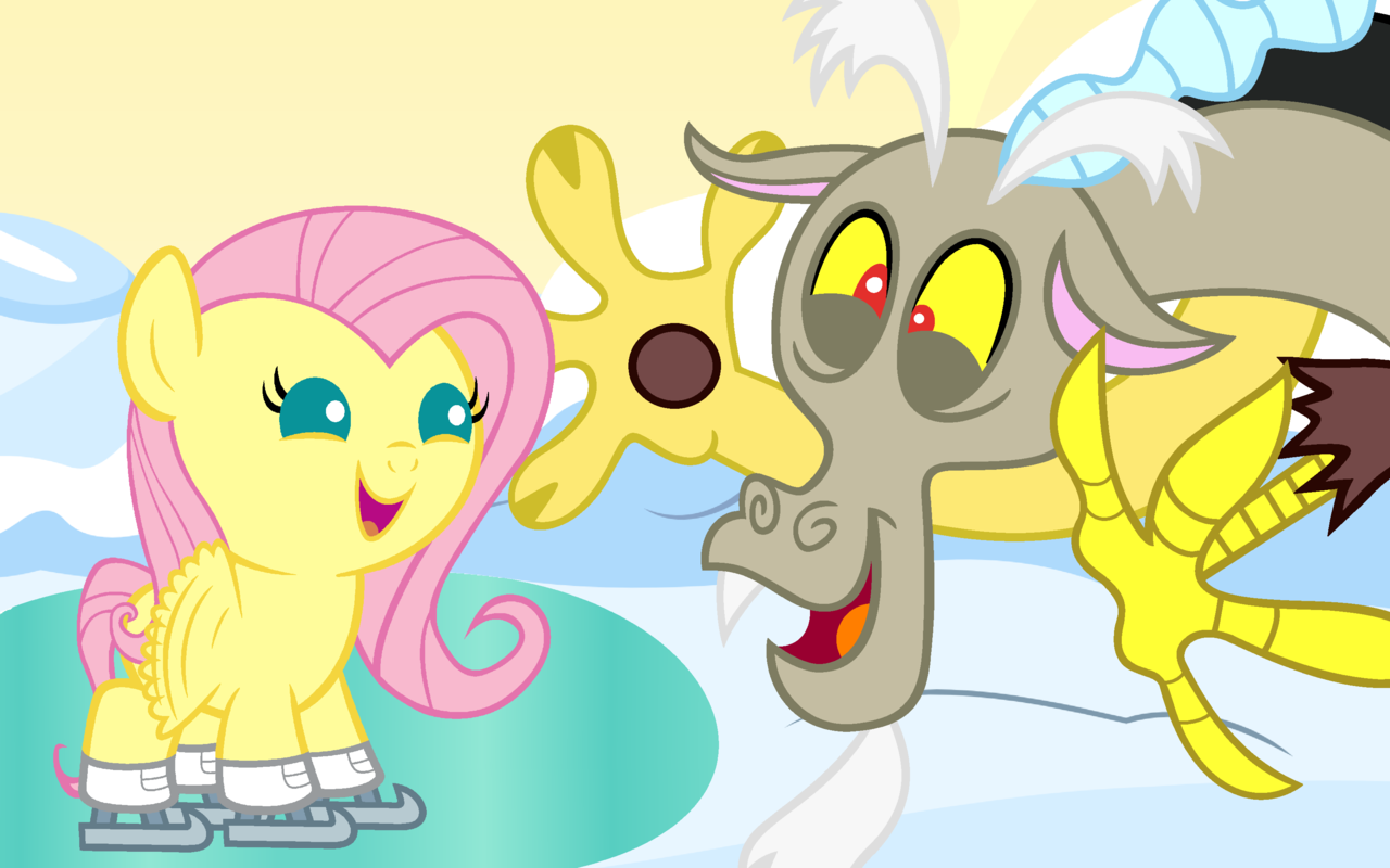 Baby Discord And Fluttershy Dances With Draconequu...