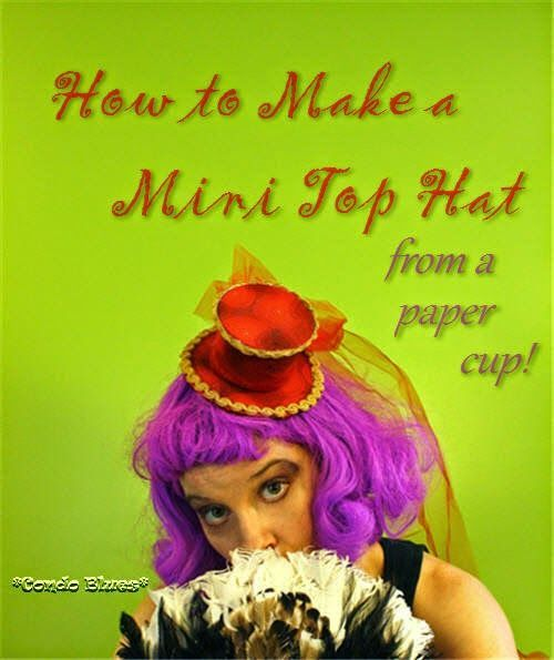 How to make a mini Steampunk Mad Hatter top hat for Halloween. She made it from a disposable cup!