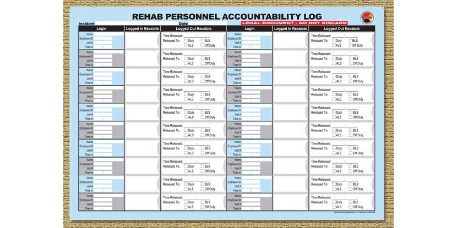 Dms Rehab Personnel Accountability Log 25 Sheets Per Pad Synthetic Waterproof Paper