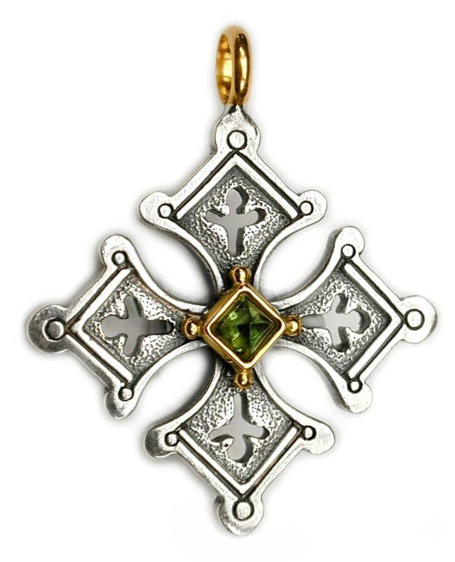 NEW Gerochristo 5057 ~ Solid 18K Gold & Sterling Silver Coptic Cross Pendant