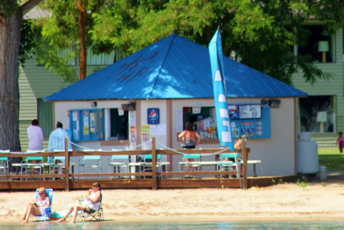 Burgers and ice cream on the beach on wapato point on lake