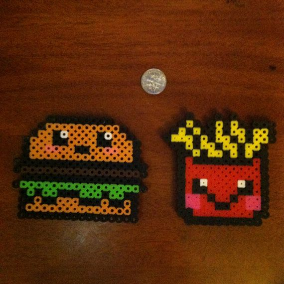 Kawaii hamburger fries magnet set perler beads by daynaperlers
