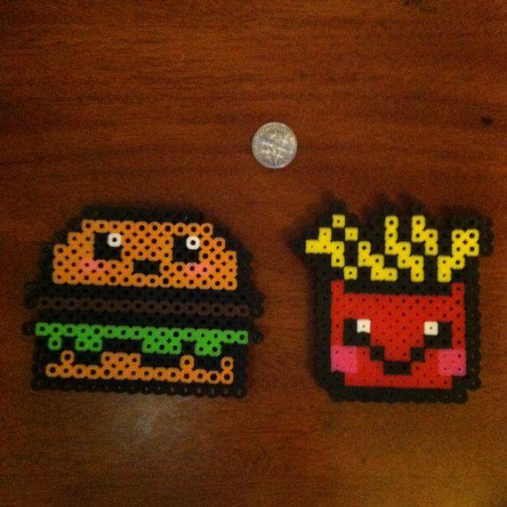 Kawaii hamburger & fries magnet set perler beads by daynaperlers