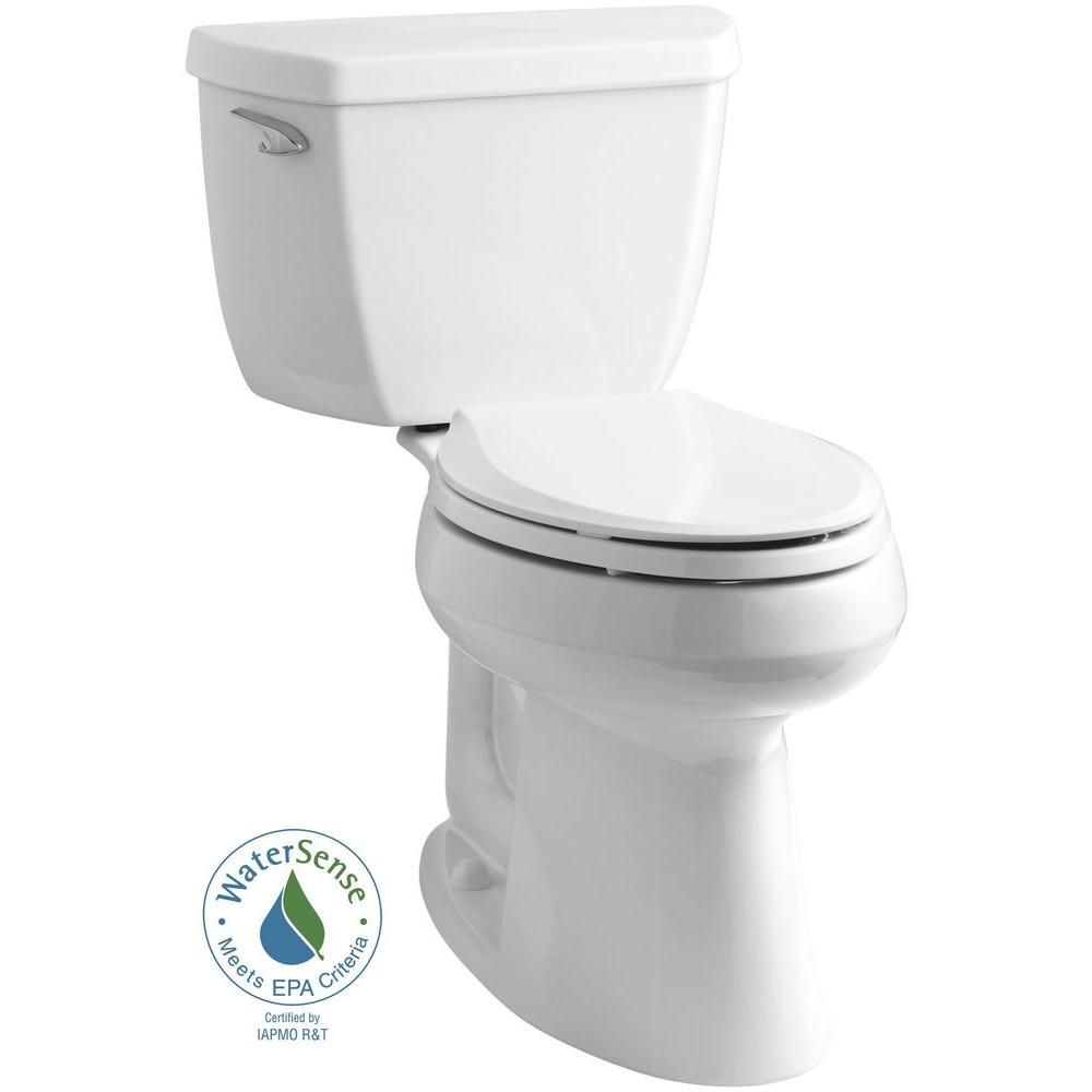 KOHLER Highline Classic Comfort Height 2-piece 1.28 GPF Single Flush Elongated Toilet in White