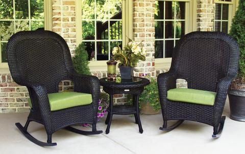 Ordinaire The Lexington Wicker Rocking Chair Set Is A Great Addition To Any Front  Porch Or Veranda Setting. The Set Includes The Resin Wicker Side Table And  Two
