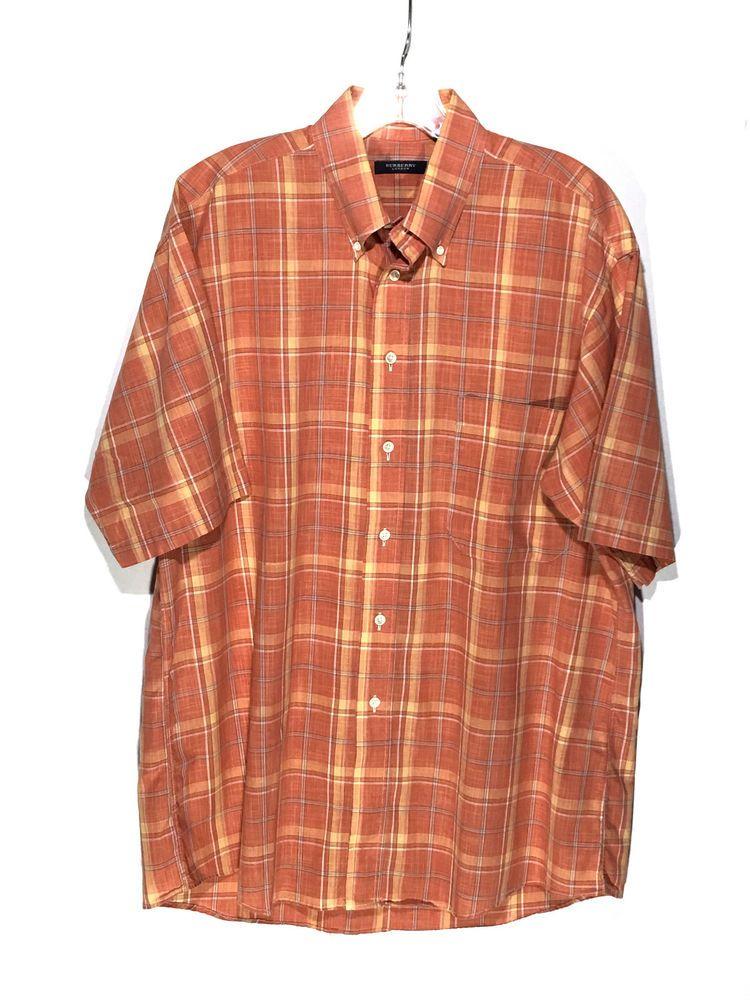 Burberry London Orange Yellow Plaid Button Down Short Sleeve Shirt ...