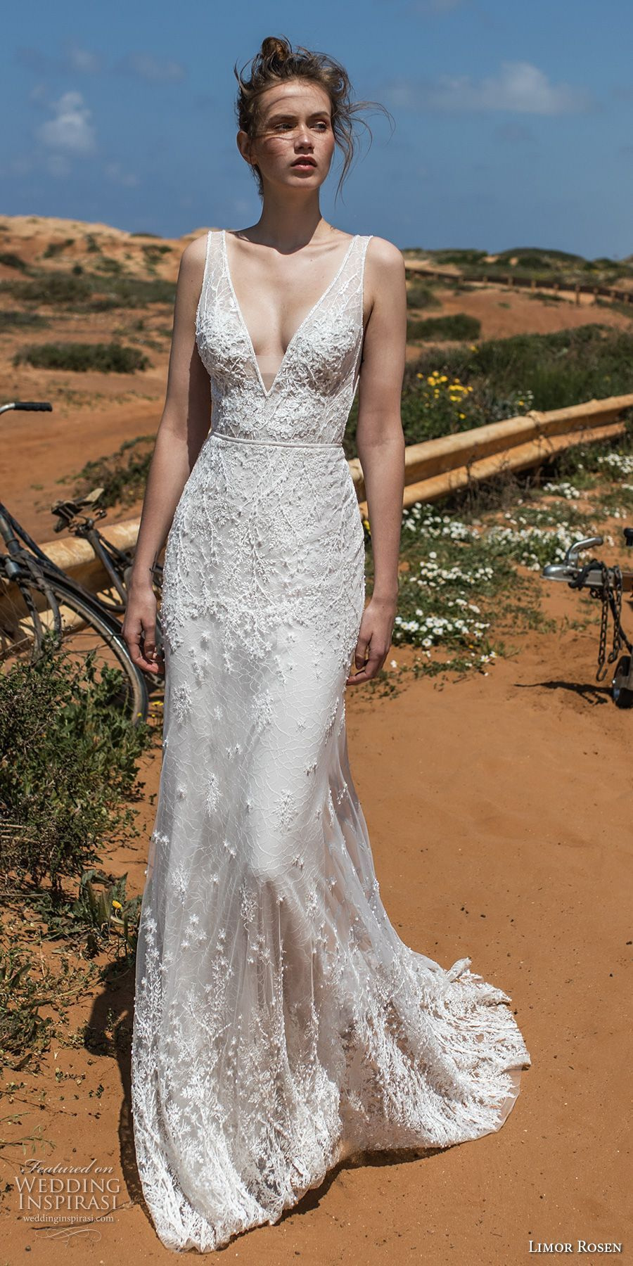 Limor Rosen 2018 Bridal Sleeveless Deep V Neckline Full Embellishment Elegant Sheath Wedding Dress Open Back Chapel Train Cameron Mv