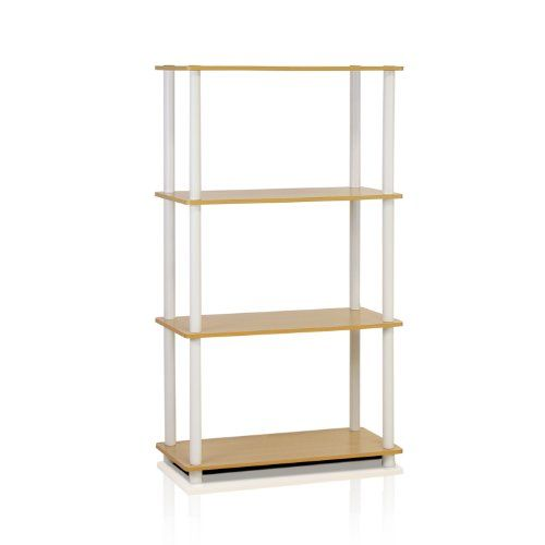 Furinno 99557BE/WH 4-Tier Tube Shelf, Beech And White