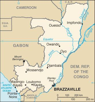 Congo Brazzaville map | French West Africa | Congo, Republic of