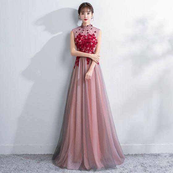 Style Chinois Rougissant Rose Robe De Soirée 2018 Princesse Cristal En  Dentelle Fleur Appliques Col Haut Dos Nu Transparentes Sans Manches Longue  Robe De ... 6bc5246a1c5