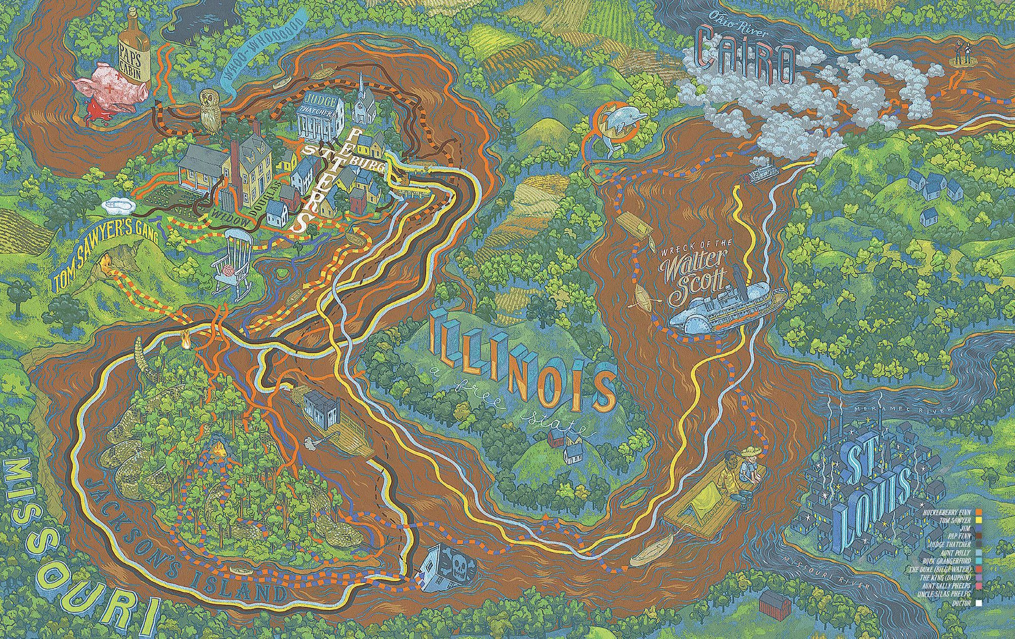 Huck Finnu0027s journey 1 by Andrew DeGraff