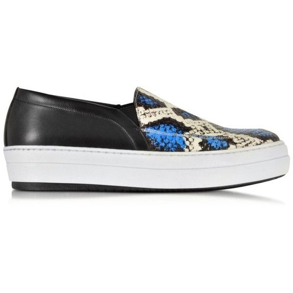 McQ Alexander McQueen Fields Blue & White Elaphe Snake Slip On Sneaker (385.330 CLP) ❤ liked on Polyvore featuring shoes, sneakers, multicolor, blue sneakers, slip on shoes, white leather shoes, snake skin sneakers and snake skin shoes
