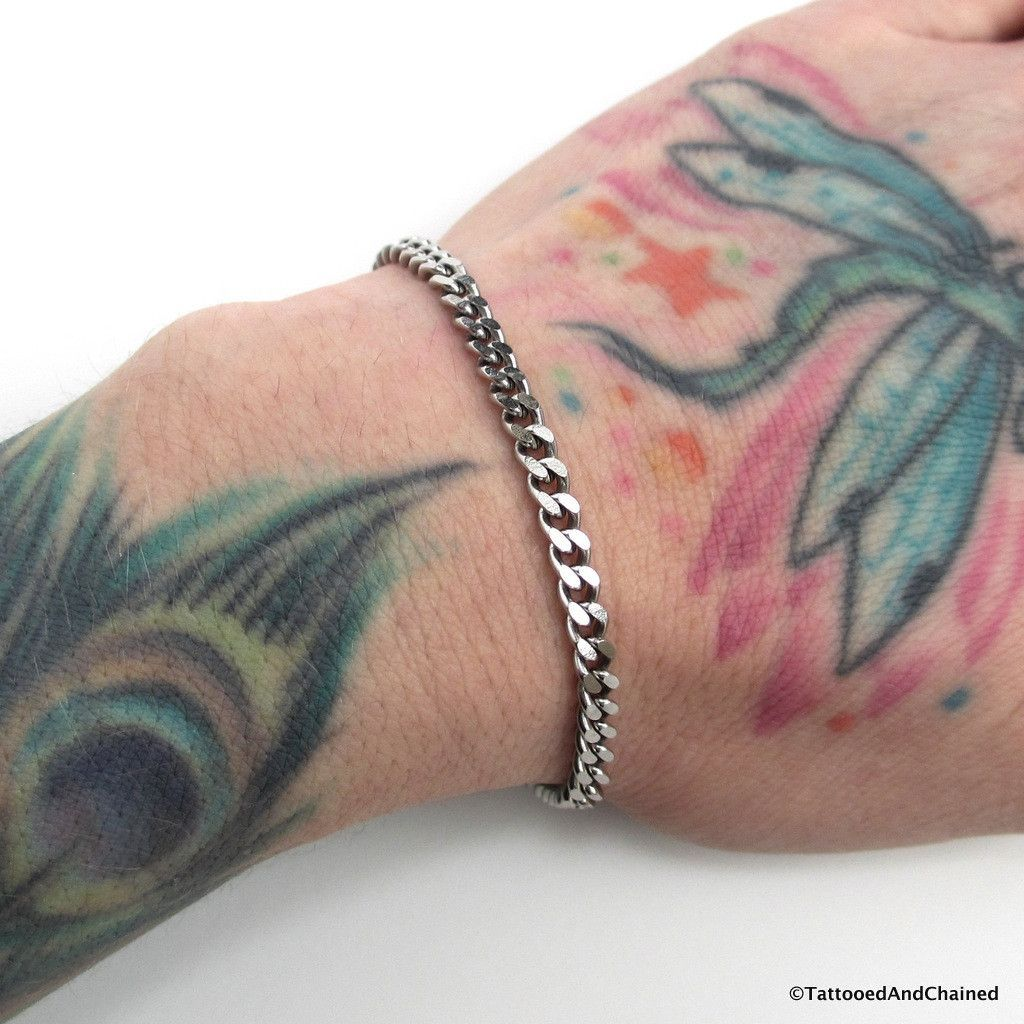 4mm stainless steel curb chain bracelet