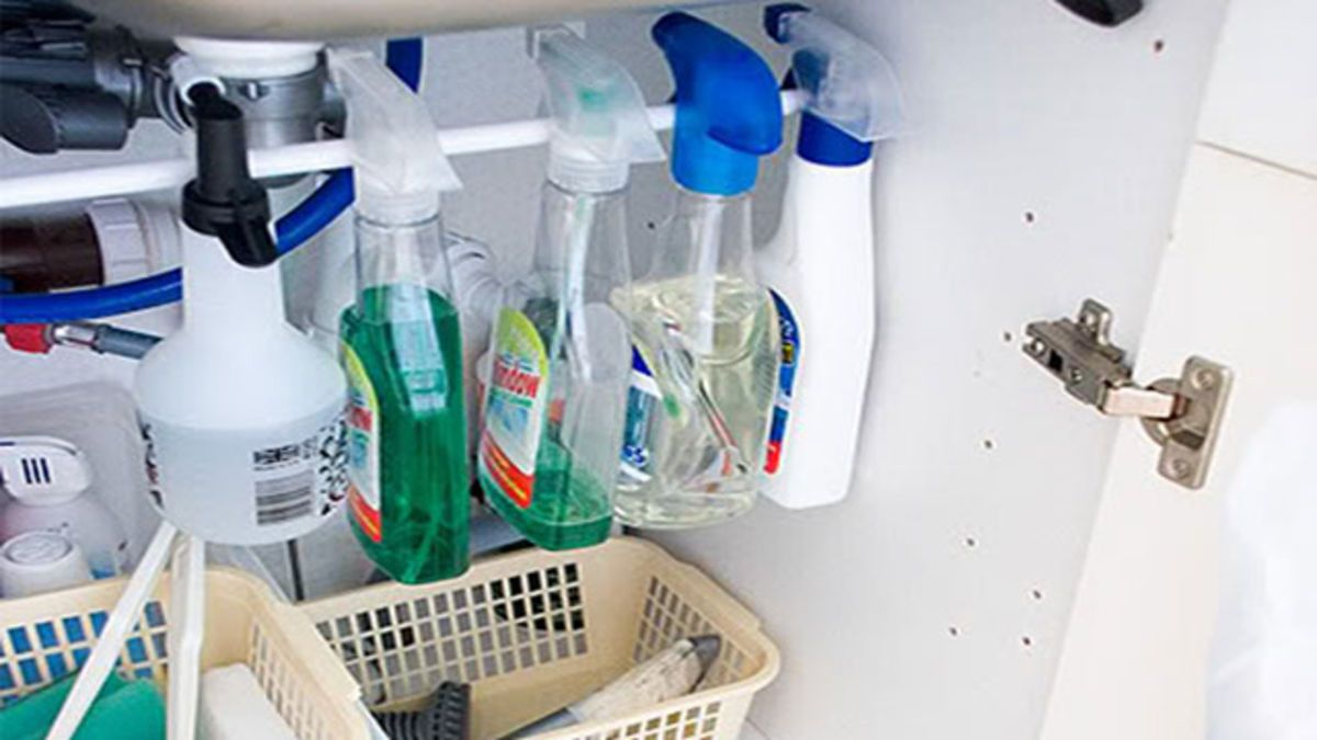 Organize Cleaning Bottles Under the Sink with a Tension ...