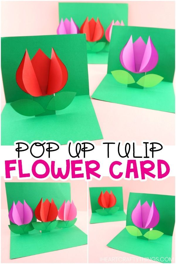 How to Make a Pop Up Flower Card - Easy Spring Tulip Craft for kids! images