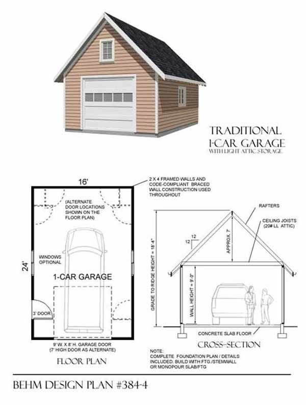 1 Car Garage Plan No 384 4 By Behm Design 16 X 24 Garage