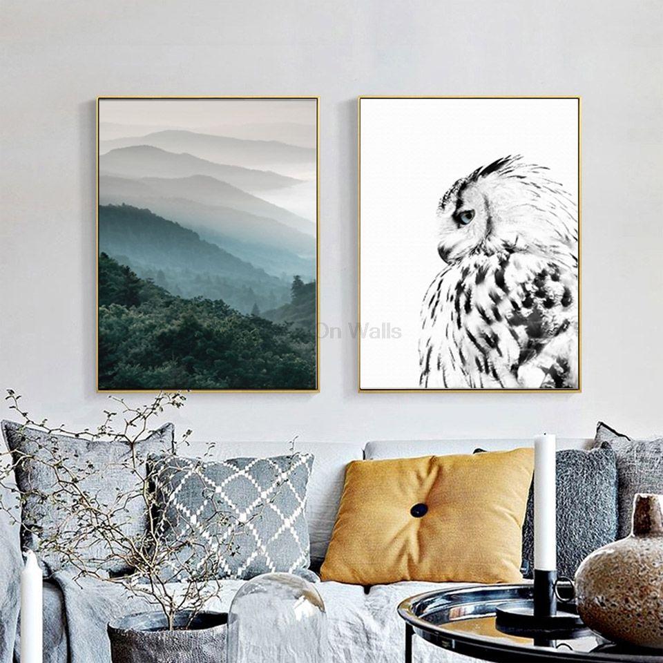 2 Panneau Paysage Affiche Hibou Impression Scandinave Toile Peinture