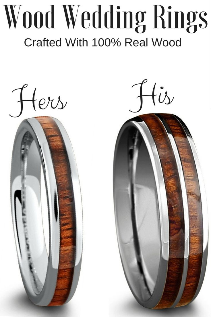 His And Her Matching Wood Wedding Band Set Crafted Out Of The Tungsten Carbide And Inlaid With 100 Real Koa Wood Wedding Ring Wedding Rings Wood Wedding Band