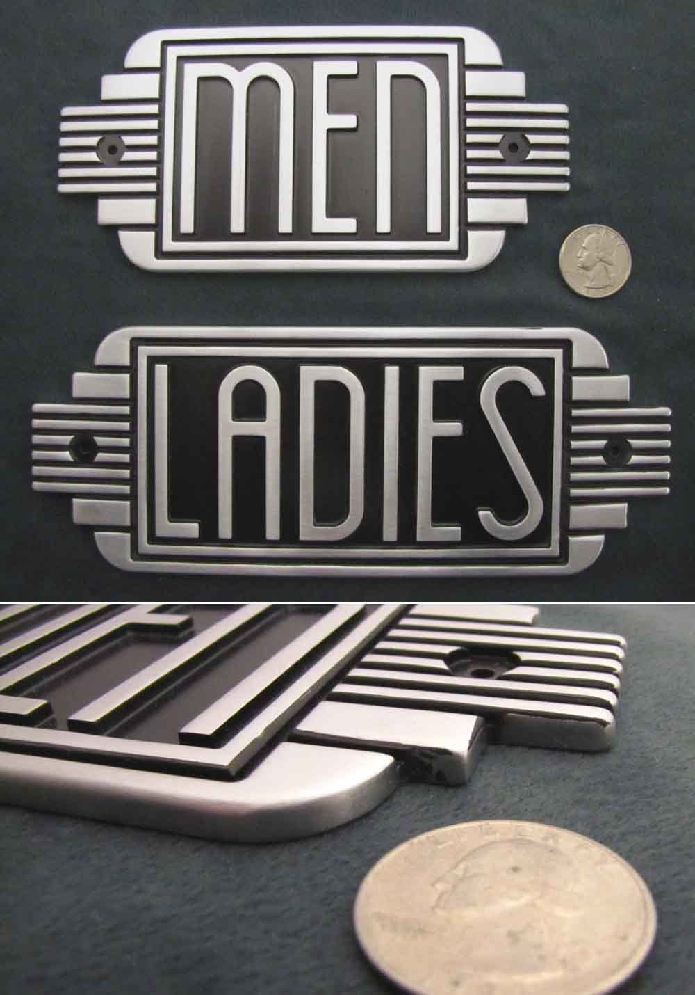 Lobby Decor ideas - Art Deco Metal Restroom Ladies Men Sign Steampunk Machine Age | eBay