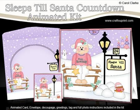3D Christmas Baa Humbug Lamb Sleeps Til Santa Countdown Card on Craftsuprint - View Now!
