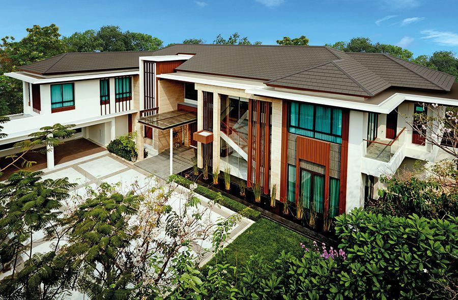 กระเบื้องหลังคาคอนกรีต เอสซีจี รุ่นนิวสไตล์ สีเกรย์ซเลท #Rooftile #Roof  #SCGExperience #Home #LivingIdea #ArchitectConsult #Contemporary #Modern  #Natur… | บ้าน, สวน