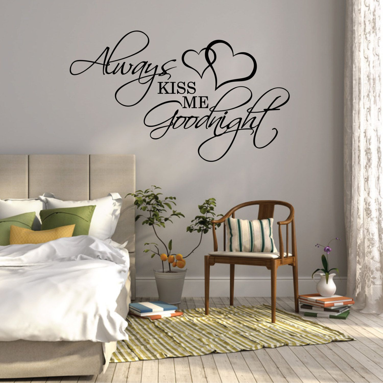 Wall sticker quote always kiss me goodnight over bed for Room decor ideas quotes